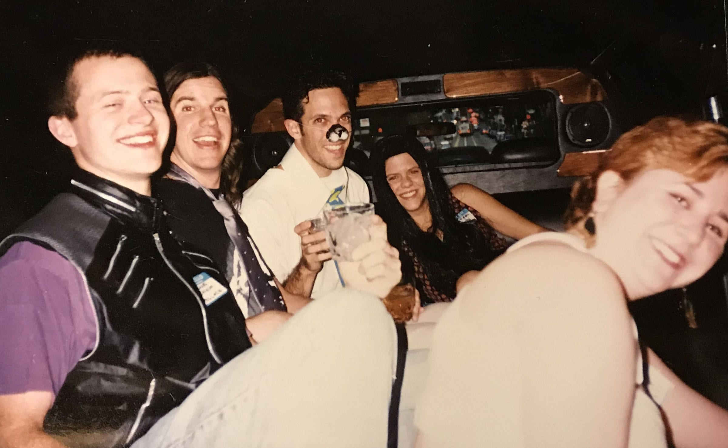 b758e2d99 L to R: Greg Bolsinga, Brian Chard, Andy Poland, Lisa Helfer, Marta Segal.  On our way (as Smushes) to a You Don't Know Jack release party thrown by  Berkeley ...