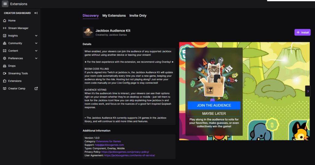 """Twitch Extensions with Jackbox Audience Kit page up, with a purple """"Install"""" button in upper right over image of kit in use."""